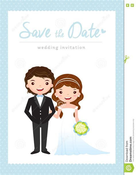 Cartoon Wedding Invitation Card Stock Vector