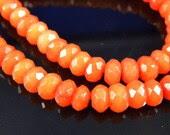 10 pc- Faceted ORANGE Rondelle Jade Beads, 8x5mm