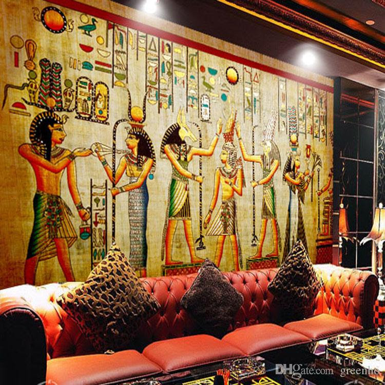 egyptian wall painting vintage photo wallpaper