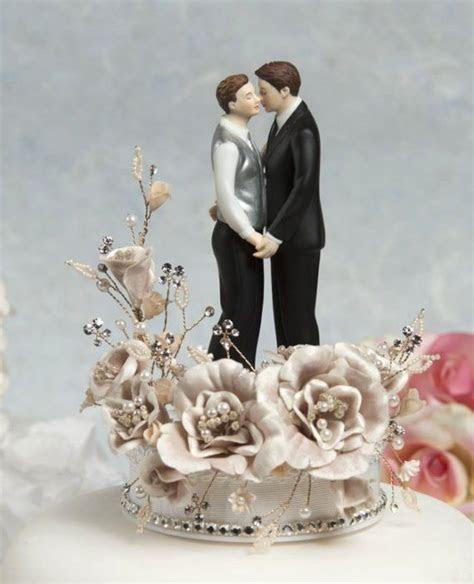 Crystal Romance Gay Wedding Cake Topper
