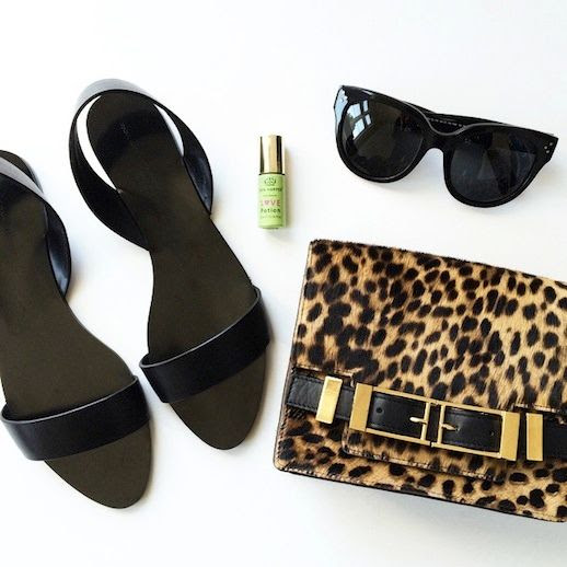 Le Fashion Blog Instagram Black Zara Flat Sandals Tata Harper Potion Celine Sudrey Sunglasses ALC Leopard Bag