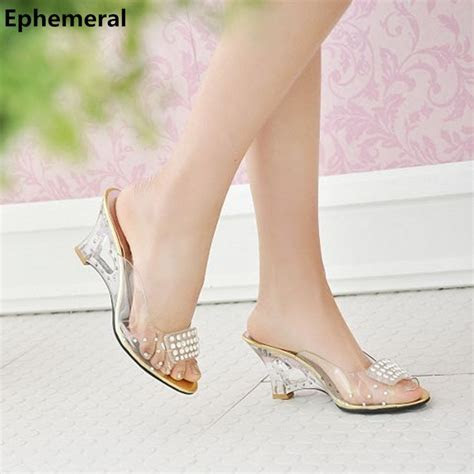 Cheap Lady Plus size EU42 43 Crystal Wedges Sandals Clear