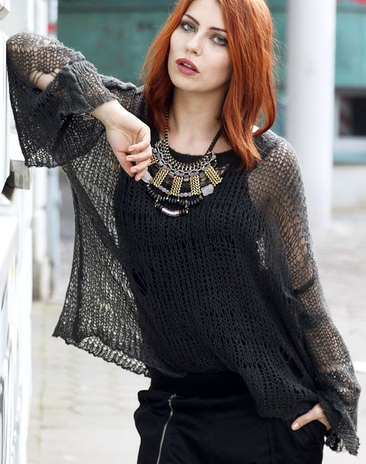 Wildfox Black Loose-fit Open Weave Knit Sweater