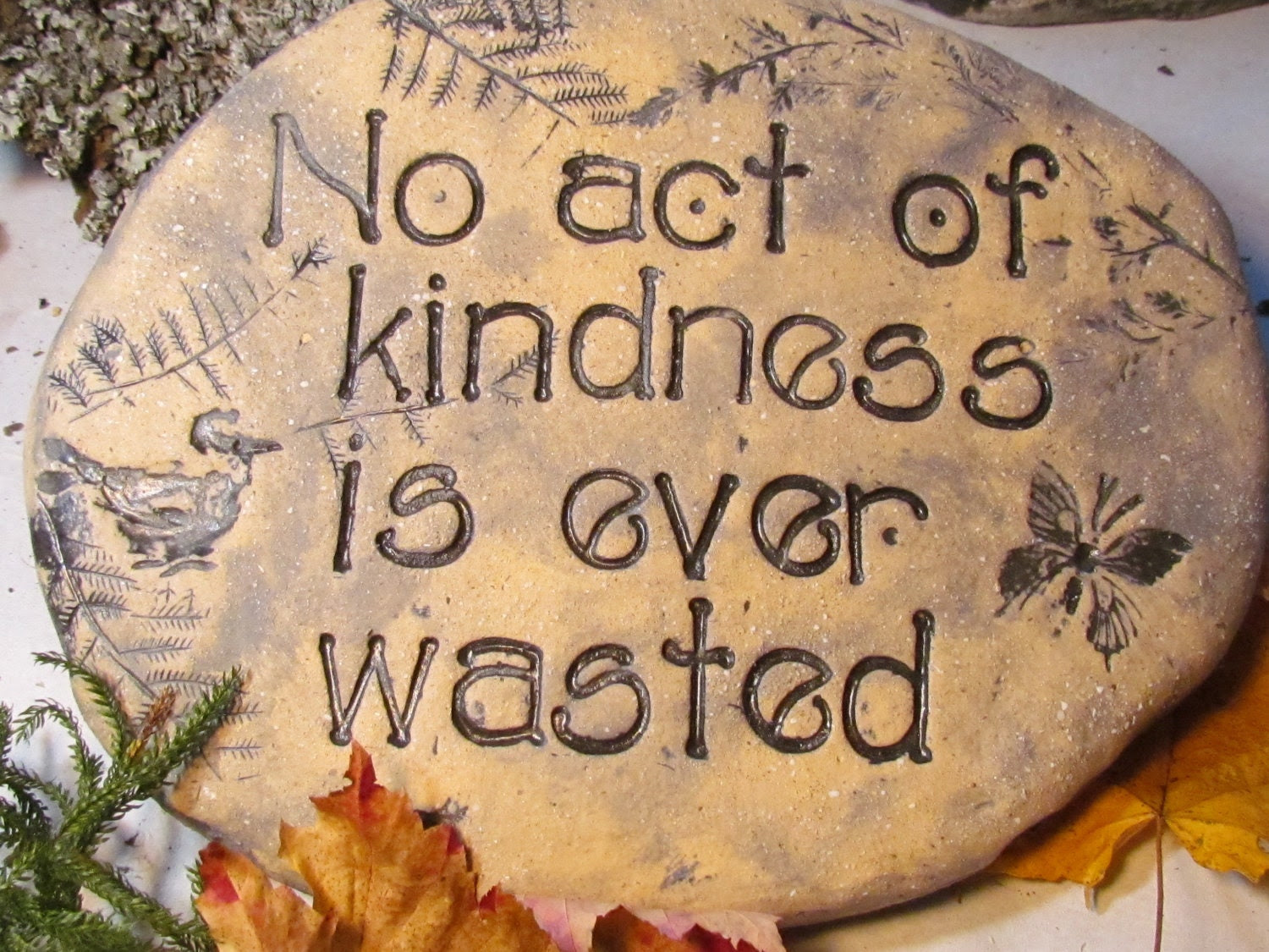 GARDEN stone outdoor Decor Words of kindness by Poemstones