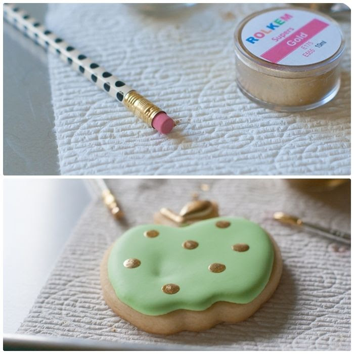 add gold dots to a cookie with a new, clean pencil eraser