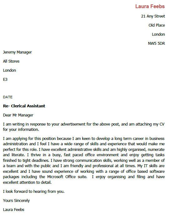 Job Application Letter For Clerical Assistant Lettercv Com