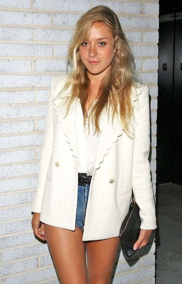 Le Fashion Blog Chloe Sevigny White Scalloped Blazer Silk Top Cut Off Denim Shorts Zip Clutch Celebrity Summer Style Via Zimbio
