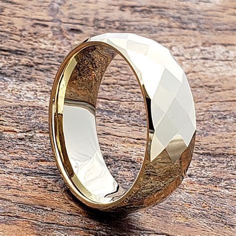 hades tungsten gold rings mens faceted  metals