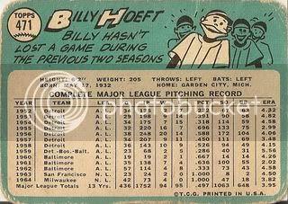 #471 Billy Hoeft (back)