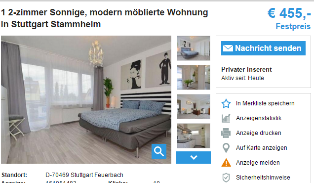 1 2 zimmer sonnige modern m blierte wohnung in stuttgart stammheim. Black Bedroom Furniture Sets. Home Design Ideas
