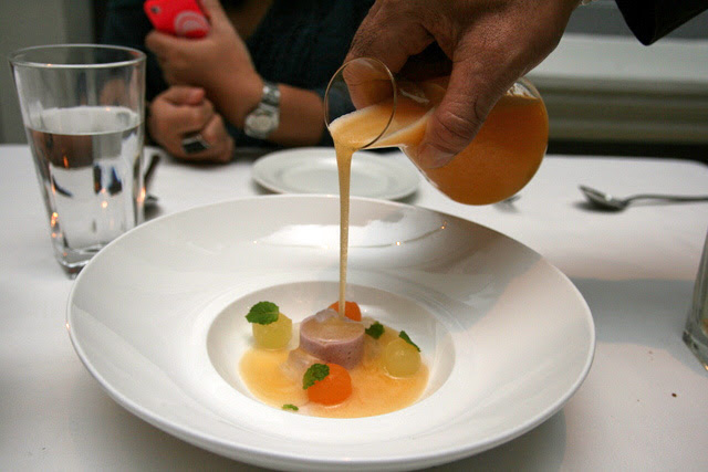 Pre-dessert THE SWEET SIDE OF SINGAPORE: hibiscus flavoured tofu, melon gazpacho, compressed melons, aloe vera