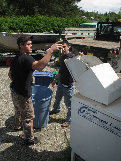 glass recycling, Kasaan, Alaska
