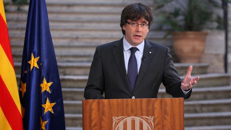 Carles Puigdemont left Spain after Madrid fired him and his government last Saturday [Jordi Bedmar/Generalitat de Catalunya/AFP]