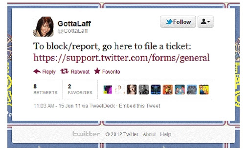 @GottaLaff instructions on how to report for spam.