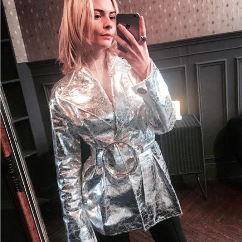 Pandora Sykes wearing a silver Rejina Pyo jacket