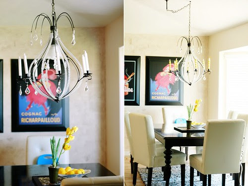 interior design, home decor, yellow, chandelier, crystals, fabulous via  lacidavisphotography