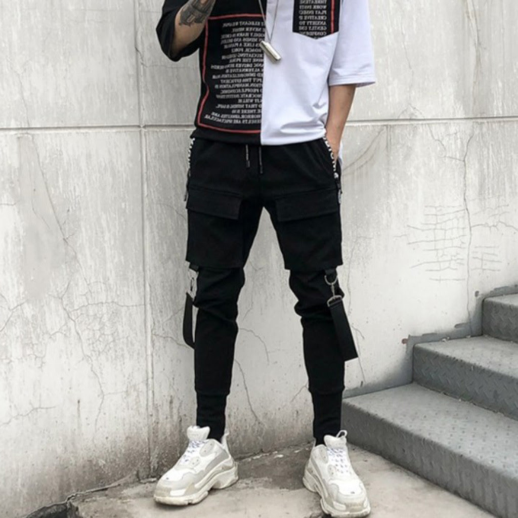 Men Streetwear Pants Tactical Pants Military Cargo Pants Punk Ribbons Casual Slim Hip Hop Trousers pantalones hombre mens pant