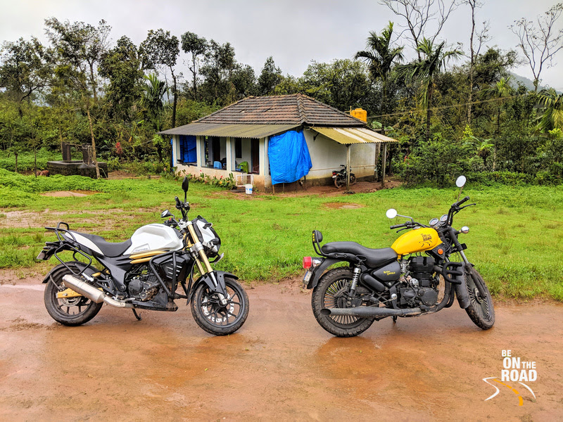 The motorcycles and the rural homestay at Athihally