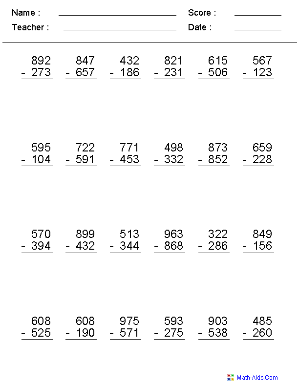 multi digit subtraction worksheets