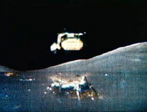 The ascent stage of a lunar module takes off into space