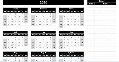 Excel Annual Calendar Template 2020