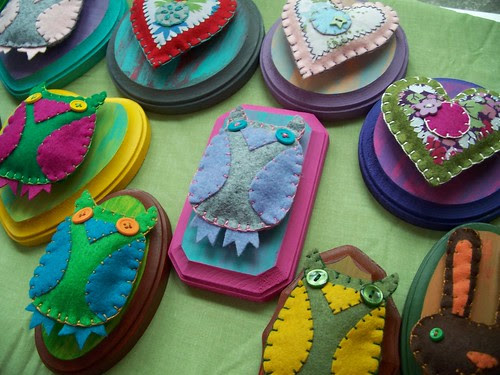mounted hearts, owls and bunnies