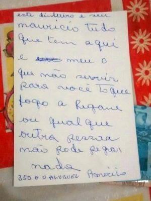 Homem deixou carta com instruções para locatário (Foto: Reprodução/TV Tribuna)