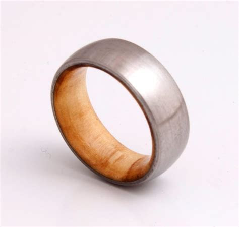 Titanium Ring Mens Wood Wedding Band With Titanium Ring