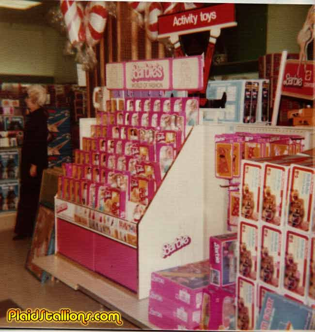 Vintage Toy store photos featuring Barbie and Battlestar Galactica