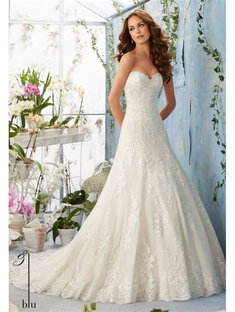 Mori Lee 5404 Embroidered Lace Wedding Gown Scalloped lace