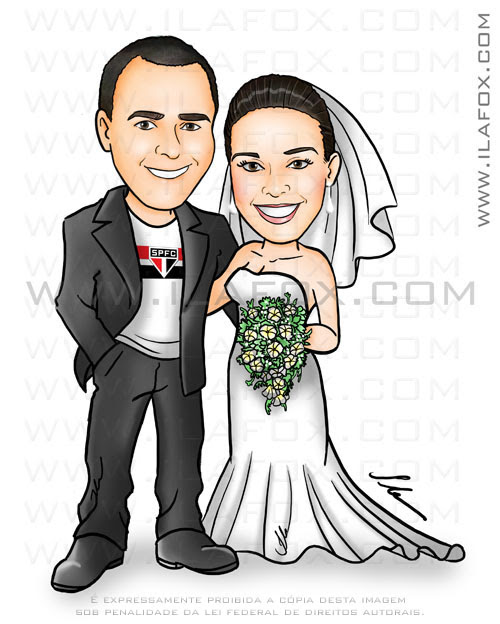 caricatura colorida, casal, noivos, corpo inteiro, uniforme time São Paulo, noivinhos Aline e Ivan, caricatura para casamento,  by ila fox