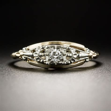 Vintage Two Tone Diamond Engagement Ring   Vintage