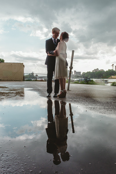 Bride and Groom Portrait with water reflections by Mindy Joy Photography