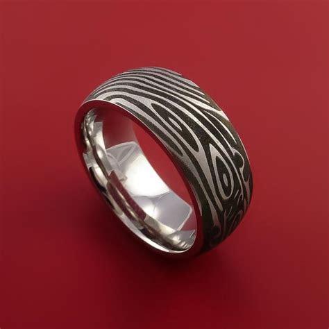 Cobalt Chrome Wide Laser Damascus Pattern Ring Custom Made