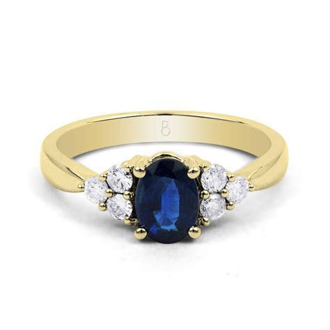 Natural Blue Sapphire & Diamond Vintage Engagement Ring in