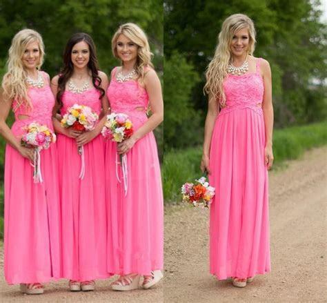 Country Hot Pink Lace Long Chiffon Bridesmaid Dresses 2016