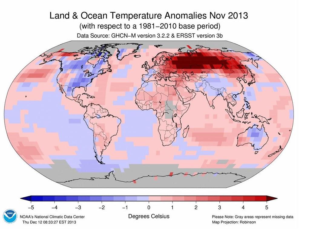 Temperature record, il novembre del 2013 è stato il più caldo dal 1880
