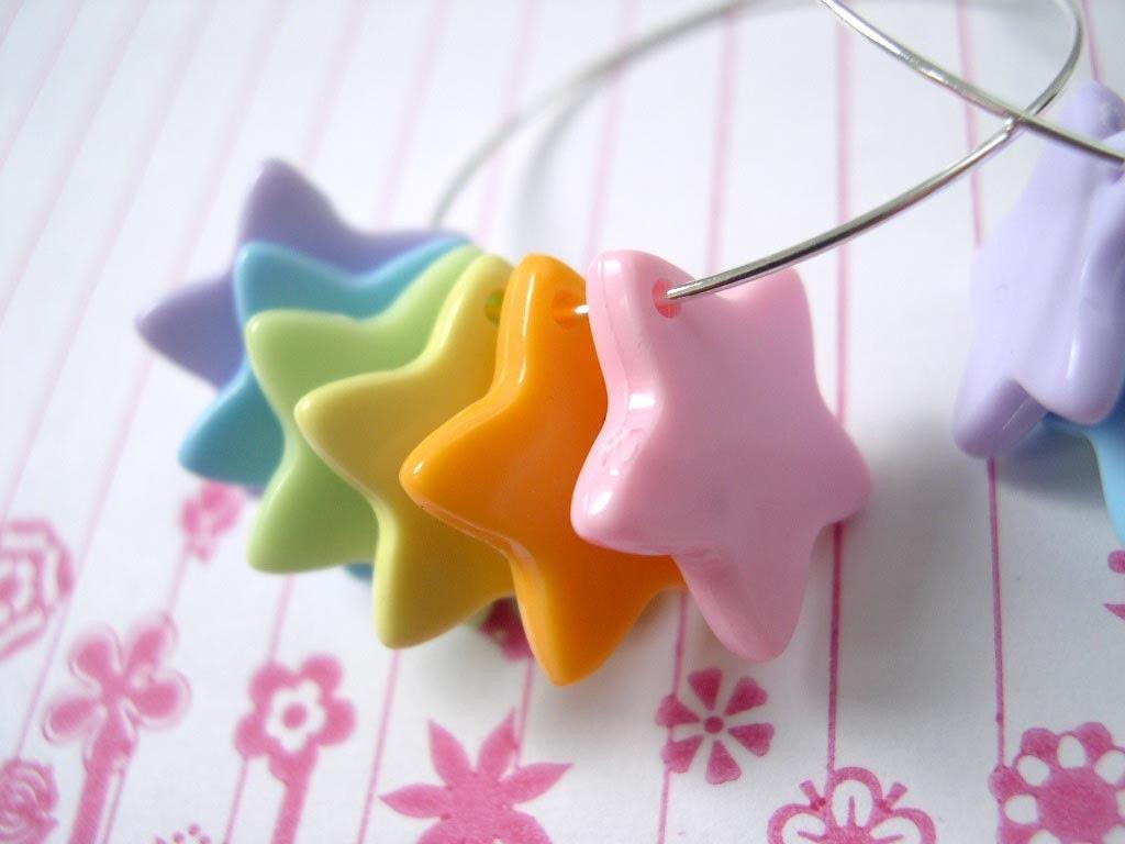 Rainbow Brite hoop earrings KAWAII