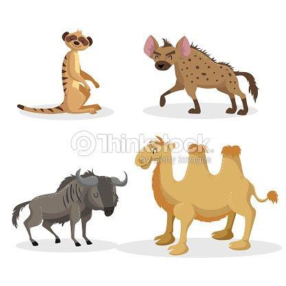 トレンディなスタイルのアフリカの動物セットを漫画しますハイエナヌー