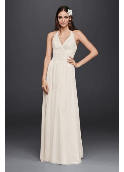 Lace Halter Wedding Dress   David's Bridal