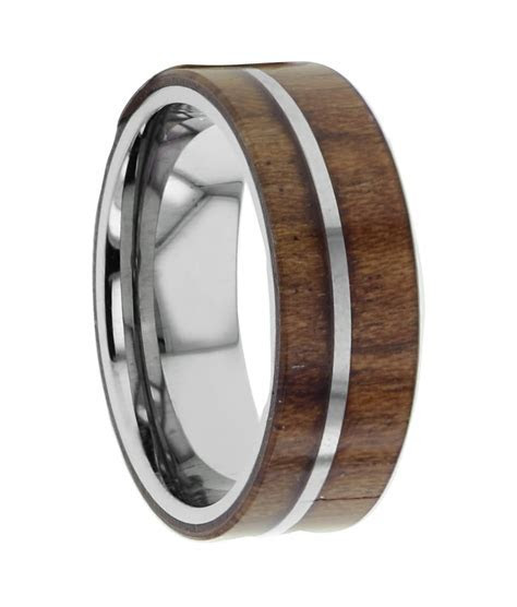 Tungsten Wood Inlay Rings   David Simchi Levi