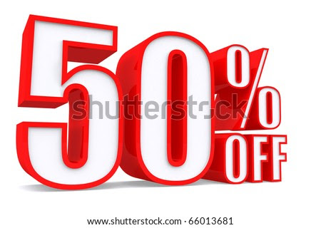 3d word 50 percent off on white isolated background - stock photo