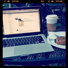 Birthday breakfast: cappuccino and pain au chocolat + catching up on blogs I follow