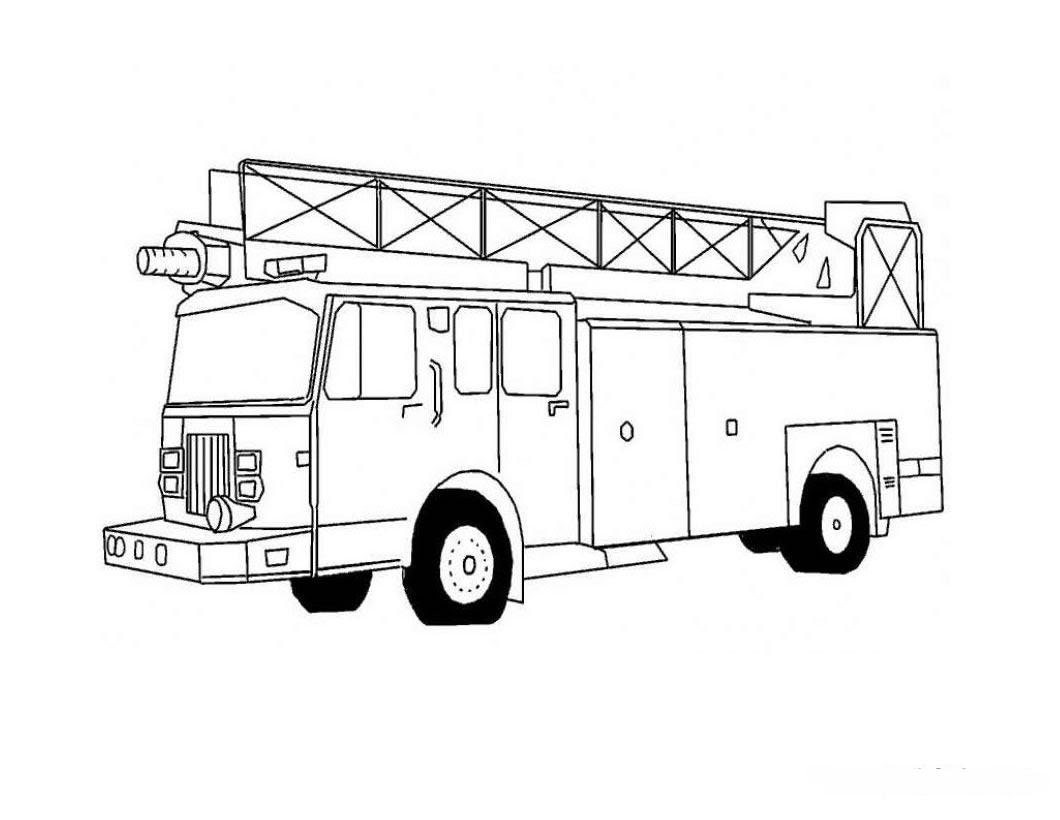 Dessin activité de coloriage camion pompier