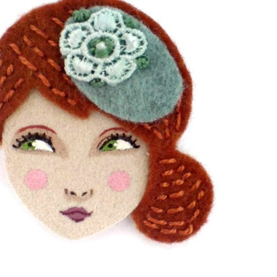 Embroidered felt brooch - Anna, copper, mint, Autumn, woman face