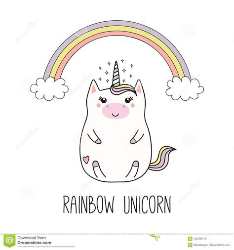 kawaii unicorn  rainbow stock vector illustration