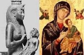 Madonna e bambino, specchio dei preesistenti Osiride e Horus