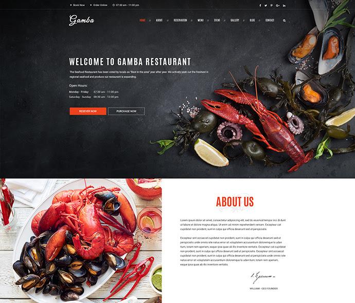 Gamba - Comida y restaurante Plantilla PSD
