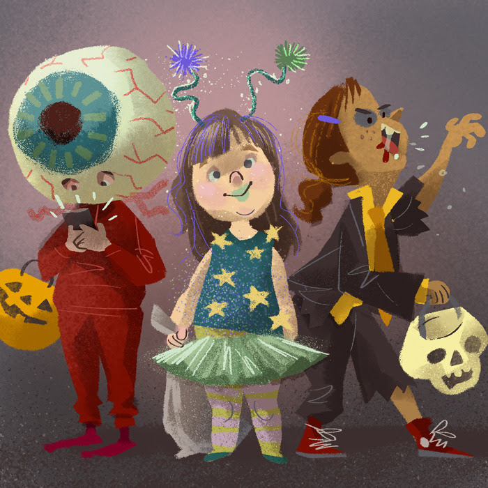 cheating at drawlloween with eyeball, alien and zombie all in one