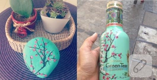Mint Yeşili çiçek Desenli Taş Boyama örneği 10marifetorg